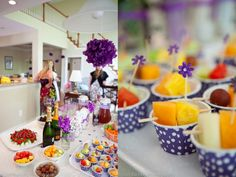 Purple bridal shower details