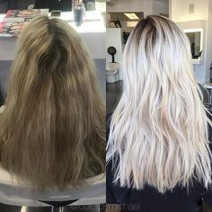 Shadowed her roots to eliminate that highlight line at her roots then brightened up the rest of her blonde for an easier maintenance on her color...