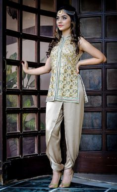 Dhoti Pants with hand-embroidered short jacket