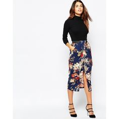 Warehouse Floral Wrap Midi Skirt ($65) ❤ liked on Polyvore featuring skirts, navy, midi skirt, floral skirt, navy midi skirt, floral knee length skirt en white floral skirt