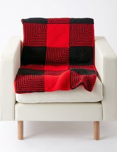 Free Knitting Pattern for Easy Lumberjack Blanket - Inspired by flannel shirts, this easy afghan is made from mitered squares stitched together. Designed by Caron Design Team