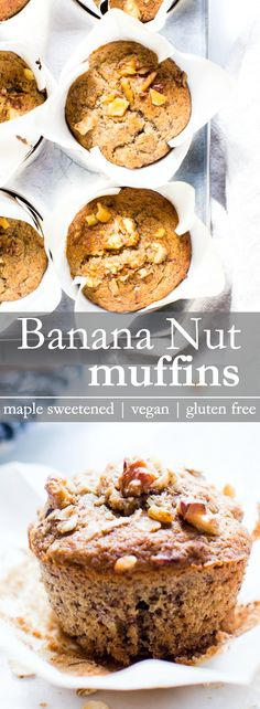 Breakfast Banana Nut Muffins - Gluten Free Vegan Packed With Wholesome Ingredients And Perfectly Suitable For Breakfast, These Muffins Are Naturally Sweetened And So Fluffy Vanillaandbean Gluten Free Vegetarian Recipes, Vegan Dessert Recipes, Vegan Gluten Free, Breakfast Recipes, Healthy Recipes, Fall Breakfast, Breakfast Snacks, Vegan Breakfast, Brunch Recipes