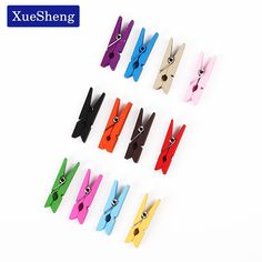 20 Pcs Mini Wooden Decorative Color Clip Wood Clothespin Clips Note Pegs Mixed For Photo