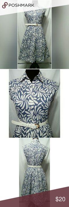 Merona Blue & Gray Shirt Dress 100% Cotton sleeveless box pleats shirt dress. Merona Dresses Midi
