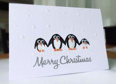 Carte de Noël fait main famille pingouin - A6