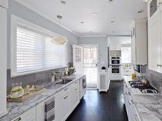 absolutely stunning galley kitchen.