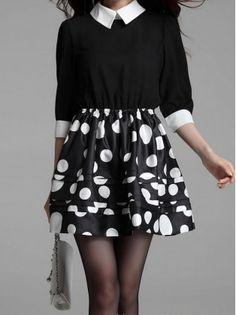 Polka Dot White Collar Dress