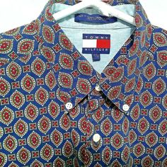 cdfd0e8b Vintage Tommy Hilfiger Mens Button Down Shirt Size Large Geometric Fancy  Pattern #TommyHilfiger #ButtonFront