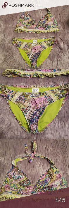 Lucky brand swimsuit s/m GORGEOUS The top is a medium and the bottom is a size small..the colors on this are amazing . Lucky Brand Swim Bikinis