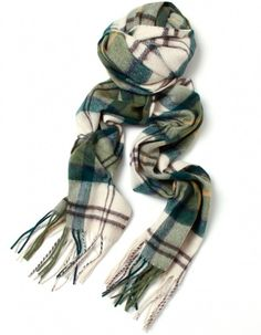 Bundle Up in Modern tartan / a BARBOUR Green Scarf