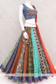 Palkhi fashion presents multi color premium cotton silk chaniya choli with traditional,kalamkari.comes with cotton blouse & orange pure chiffon dupatta