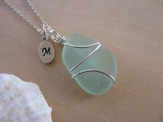 Sea Foam Green Sea Glass Necklace with Stamped Letter Beach Glass Jewelry Beach Wedding Jewelry, Beach Jewelry, Sea Glass Necklace, Glass Jewelry, Sea Foam, Starfish, Bridesmaid Gifts, Handmade Jewelry, Letter