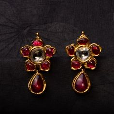Ruby Dreams -  uncut diamonds, handcrafted in 22k gold - they look magical, as if they have a secret history