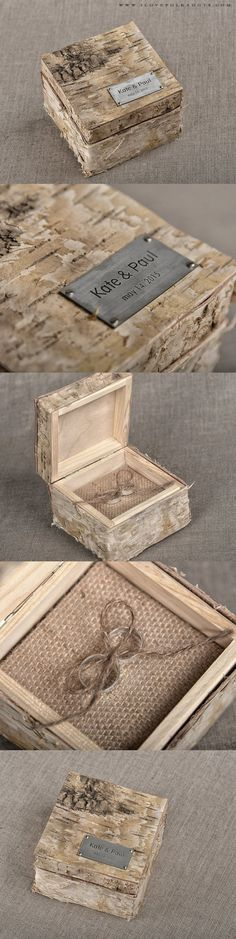 Birch Bark Wedding Ring Box #wood #ringbox #woodland #weddingideas