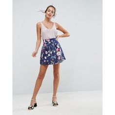 ASOS Scuba Lantern Mini Skirt in Print ( 33) ❤ liked on Polyvore featuring  skirts 4139726df