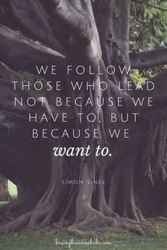 We follow those who lead not because we have to, but because we want to. -Simon Sinek