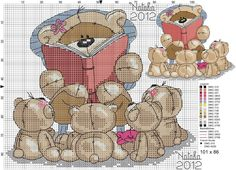 Fizzy Moon, Cross Stitch Patterns, Teddy Bear, Animals, Cross Stitch Moon, Bears, Punto De Cruz, Marque Page, Animales