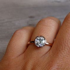 Moissanite Engagement Ring  Recycled 14k Rose by mcfarlanddesigns, 1,728.00