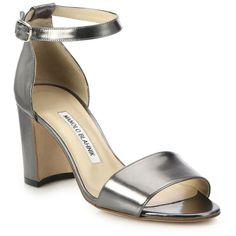 Manolo Blahnik Laura Metallic Leather Block-Heeled Sandals (€710) ❤ liked on Polyvore featuring shoes, sandals, heels, accessories, footwear, anthracite, apparel & accessories, block-heel sandals, chunky-heel sandals and ankle wrap sandals
