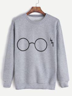 SheIn offers Grey Glasses Print Sweatshirt & more to fit your fashionable needs. Sweatshirts Online, Printed Sweatshirts, Printed Shirts, Hooded Sweatshirts, Hoodies, Grey Shirt, Grey Sweatshirt, Harry Potter Sweatshirt, Grey Long Sleeve Tops