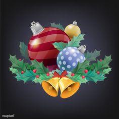 Illustration set of Christmas decoration items Christmas Decoration Items, Christmas Ornaments, Holiday Decor, Christmas Icons, Decorative Items, Free Images, Vector Free, December, Illustration