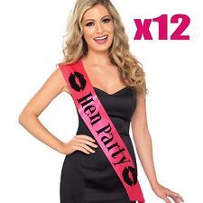 12x Hot Pink Wedding Sash Hen Do Party Night Accessories Bride To Be