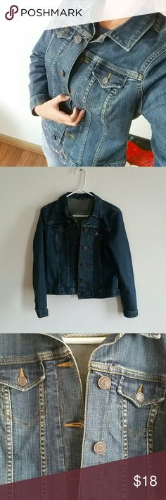 Lands End Denim Jean Jacket Lands End denim Jean jacket with two breast pockets. Lands' End Jackets & Coats Jean Jackets