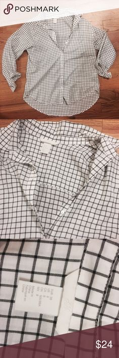 Black Check Button Down Boyfriends style Button Down. Black and white. Brand new. Size 8. Soft cotton blend. No trades but save 20% when you bundle 2+ items. Ships with 24 hours H&M Tops Button Down Shirts