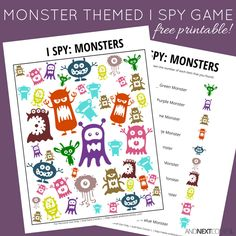 Looking for free printable I spy games for kids? I love this monsters I spy game printable Spy Games For Kids, I Spy Games, Free Games, Monster Games For Kids, Board Games, Monster Activities, Halloween Activities, Preschool Activities, Monster Crafts