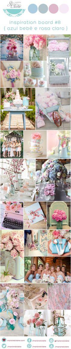 paleta de cores decoração casamento azul bebe e rosa claro