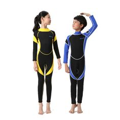 Neoprene Wetsuits Kids Long Sleeves Swimwear Boys Girls Diving Suits Surfing Children Rash Guards Snorkel One Pieces #Affiliate