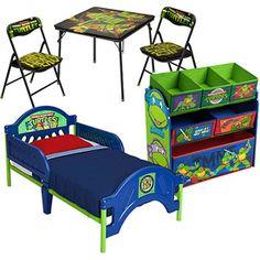 Nickelodeon Tmnt Ninja Turtles Toddler Bed and Toy Storage with Bonus Table and Chair Set, Blue Ninja Turtle Room, Ninja Turtle Crafts, Ninja Turtles, Nursery Room, Kids Bedroom, Bedroom Ideas, Cool Kids Rooms, Kid Rooms, Man Room