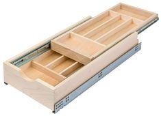 Century Components - Century Wide Double Tier Silverware Drawer - (Maple) - The Hardware Hut Kitchen Organization Pantry, Diy Kitchen Storage, Wood Storage Box, Safe Storage, Old Kitchen Tables, Silverware Tray, Spice Drawer, Two Tone Kitchen, Modern Kitchens