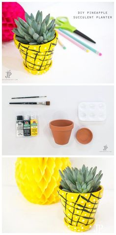 DIY Succulent Pineapple Planter | This DIY Craft idea is on trend and fun to do! Find the tutorial to make your own on TodaysCreativeLife.com…
