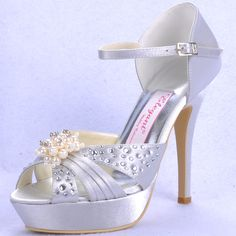"""Dyeable Amazing 5"""" Pearl Brooch Rhinestones Peep-toe D'orsay - Ivory Satin Wedding Shoes (11 colors),US$85.98   Read More:     http://www.weddingsred.com/index.php?r=amazing-5-pearl-brooch-rhinestones-peep-toe-wedding-d-orsay.html"""