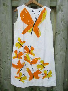 Vtg 1960s VERA NEUMANN Mid Century Mod Butterfly Dress  #VeraNeumann