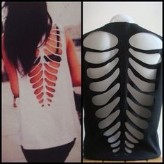 Skeleton cut out Ribcage Emo Punk Halloween Rock Black sexy Tank Top Tshirt  M L
