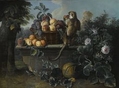 Artwork by Alexandre-François Desportes, STILL LIFE WITH A MONKEY AND A BASKET OF FRUIT RESTING ON A LEDGE WITH A LANDSCAPE BEYOND, Made of oil on canvas, 1725.