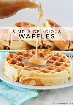 Homemade Belgian waffles are perfectly golden and crispy on the outside but the insides are soft, fluffy and amazingly delicious!  Made from scratch using a few simple ingredients, this waffle recipe is the best you'll find. #belgianwafflerecipe #homemadebelgianwaffles #bestbelgianwaffles #crispybelgianwaffles #easybelgianwafflerecipe