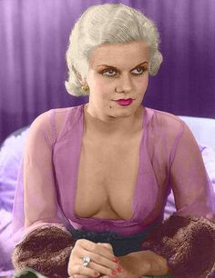 Colourised publicity shot of Jean Harlow