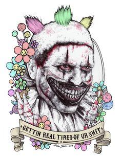 American Horror Story: Freak Show Arte Horror, Horror Art, Horror Icons, American Horror Story Clown, American Horror Story Tattoo, Creepy Clown, Cultura Pop, Coven, Horror Stories