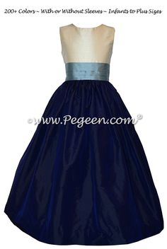 Flower Girl Dress Style 398 in Navy, Ivory and Powder Blue Silk | Pegeen