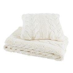 Coussin tricoté en tissu blanc cassé 50 x 50 cm OSLO | Maisons du Monde