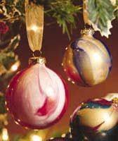 Do-It-Yourself Marbled Ornaments made from Clear Glass Balls and choice of paints.