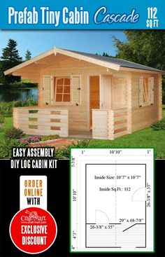 Highly affordable small and tiny log cabin kits that you can assemble yourself in days! Small Cabin Plans, A Frame House Plans, Small Log Cabin, Cabin House Plans, Tiny House Cabin, Tiny House Plans, Diy Log Cabin, Log Cabin Kits, Log Cabins