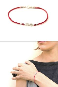 Delicate red string and silver infinity bracelet by SigalDesign