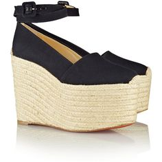Christian Louboutin Dehia 160 canvas wedge espadrilles ($590) ❤ liked on Polyvore featuring shoes, sandals, wedges, christian louboutin, wedge espadrilles, black wedge sandals, platform sandals, black strappy sandals and black sandals