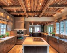 Wood Beam Ceiling Designs | Designer Modern Barn Kitchen with Beamed Ceiling