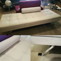 Beautiful White Leather Bench by Lind. #restylechicago #modern https://www.instagram.com/p/BMo6jNjhiGs/
