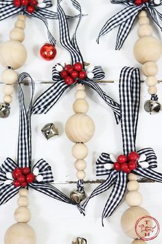 DIY Farmhouse Wood Bead Ornaments - The Cottage Market wood crafts crafts design crafts diy crafts furniture crafts ideas Christmas Ornaments To Make, Noel Christmas, Christmas Projects, Handmade Christmas, Holiday Crafts, Farmhouse Christmas Ornaments Diy, Christmas Bead Garland, Diy Christmas Decorations, Christmas Ideas